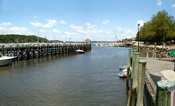 present day view of northport dock, northport ny